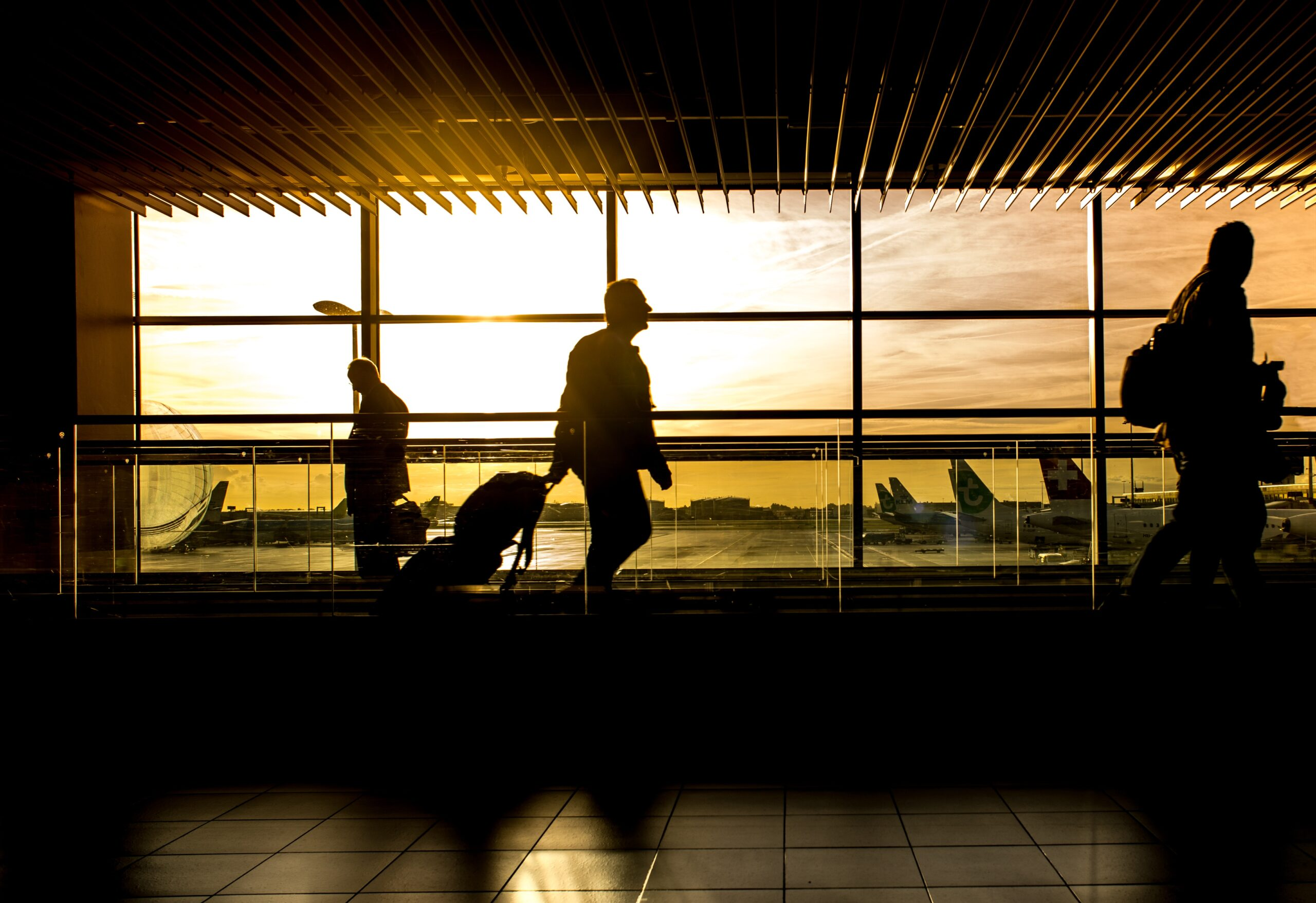 a business traveller at the airport