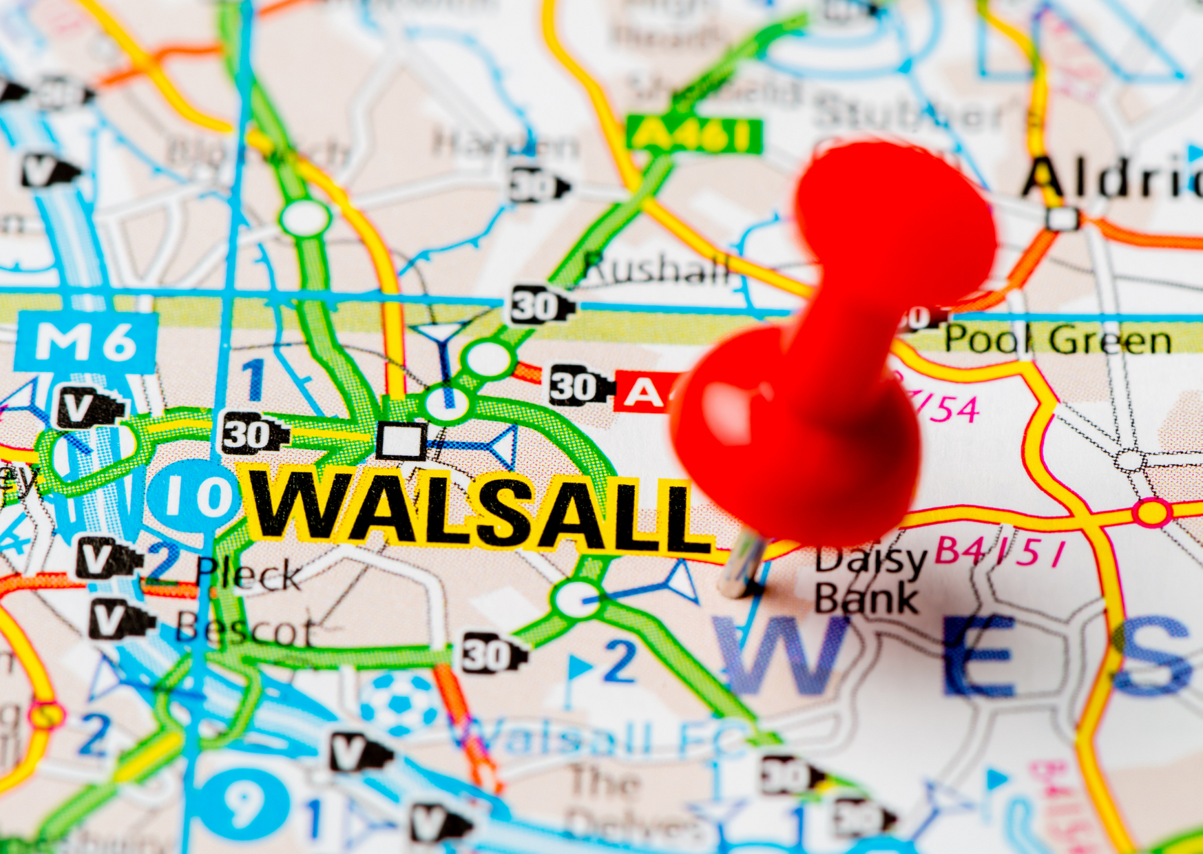 Walsall on a map